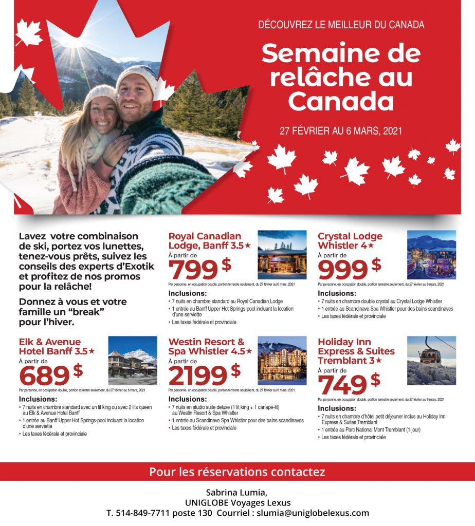 Semaine de relâche au Canada